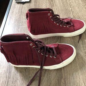 f6052c6f99b153 Vans Shoes - Vans Suede Port Royale Sk8 Hi Fringe Red Shoes